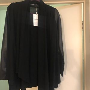 Zara Jackets & Coats - NEVER WORN black sweater with faux leather sleeves